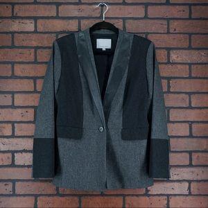 CLASSIQUES ENTIER Wool Blend Leather Trim Blazer